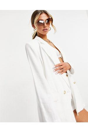 ASOS Washed double breasted linen suit blazer in
