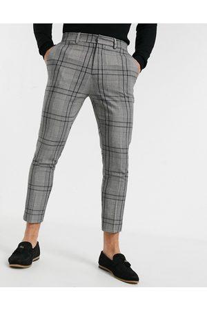 New Look Skinny cropped smart pants in plaid-Grey