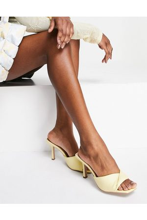 Qupid Strappy mule sandals in yellow