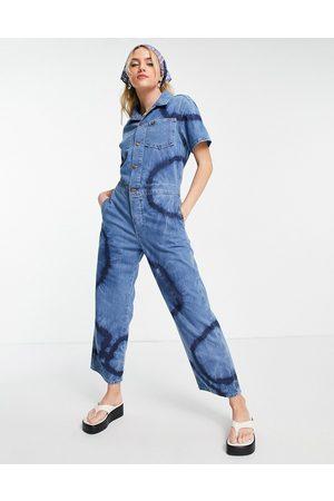 Wrangler Tie dye denim coveralls in blue-Blues