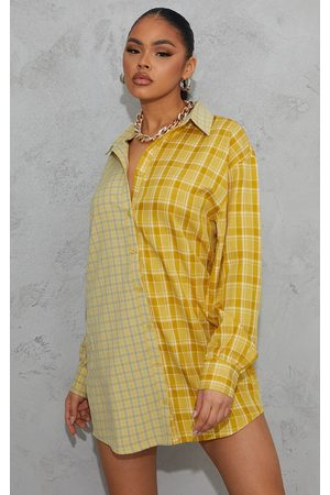 PRETTYLITTLETHING Women Casual Dresses - Contrast Check Panel Oversized Shirt Dress