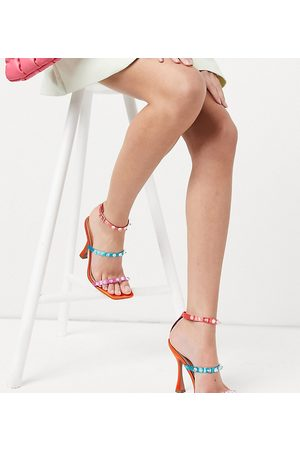 ASOS Wide Fit Negotiate barely there studded high-heeled sandals in multi