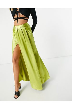 Yaura Drape front coordinating midaxi skirt in lime