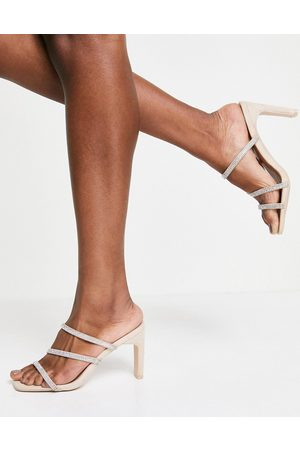 Qupid Strappy embellished mule sandals in -Neutral