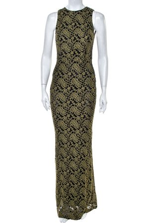 ALICE+OLIVIA Women Sleeveless Dresses - Olive Embroidered Tulle Open Back Detail Sleeveless Gown S
