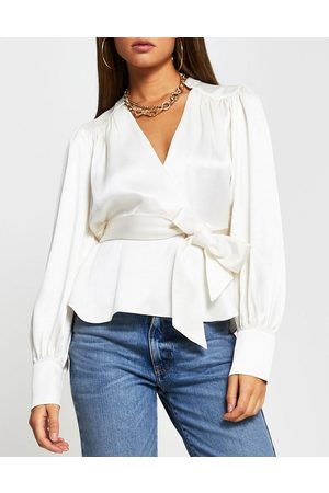 River Island Smudge print wrap blouse in ivory