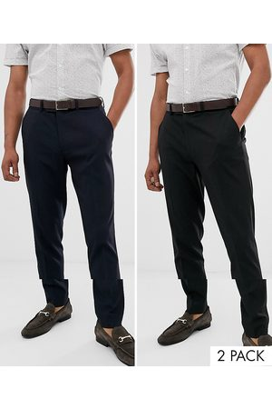 ASOS 2 pack skinny smart trousers in black and navy SAVE-Multi