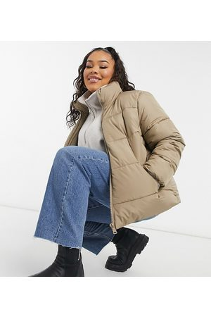 New Look New Look Curve hooded puffer coat in camel