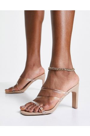 Qupid Clear strappy mule sandals in beige