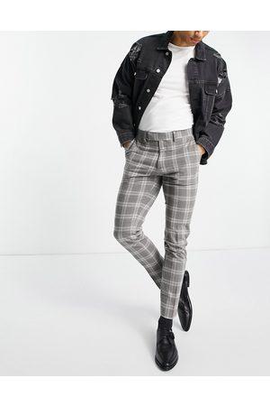 ASOS Skinny wool mix suit pants in tartan check-Grey
