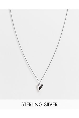 ASOS Sterling skinny neckchain with tooth pendant in burnished
