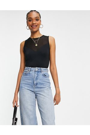 French Connection Sira mesh top sleeveless bodysuit in
