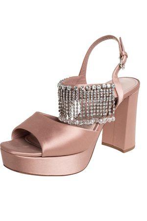 Miu Miu Satin Embellished Platform Sandals Size 38.5