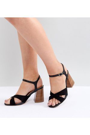 River Island Wide Fit Cross Front Heeled Sandals