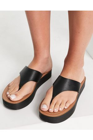 ASOS Fueled chunky leather flip flops in