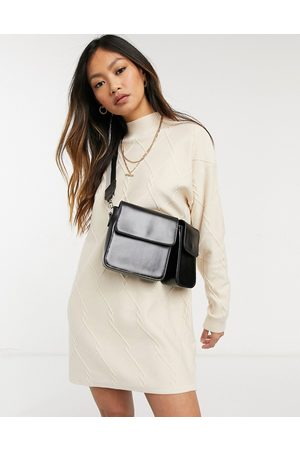 Fashion Union Knit high neck sweater dress in lightweight cable detail