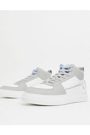 ASOS Men Sneakers - High top sneakers in gray and embossed