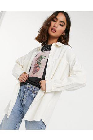 Monki Women Shirts - Allison organic cotton oversized denim shirt in ecru
