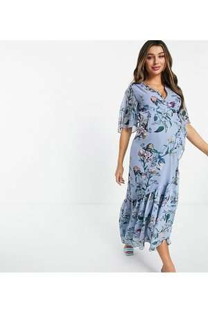 HOPE & IVY Women Printed Dresses - Contrast lace puff sleeve midi dress in powder blue floral-Blues