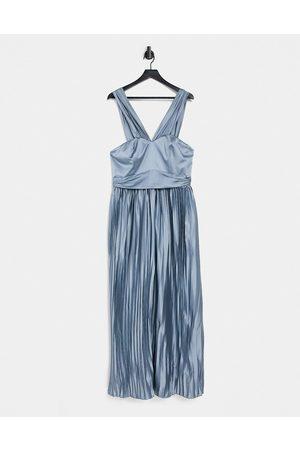 Chi Chi London Women Maxi Dresses - Lauren satin dress in blue-Blues