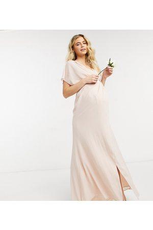 ASOS Women Maxi Dresses - ASOS DESIGN Maternity Bridesmaid short sleeve cowl front maxi dress with button back detail