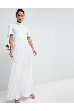 ASOS Women Party Dresses - Wedding maxi dress in soft jacquard with flutter sleeve