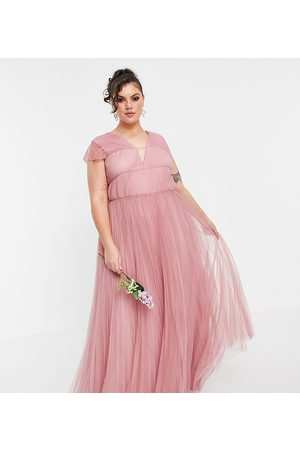 ASOS ASOS DESIGN Curve tulle plunge maxi dress with shirred sleeves in rose