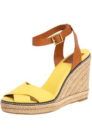 Tod's Women Platform Sandals - Tory Burch /Brown Canvas And Leather Fabian Wedge Platform Espadrilles Size 40