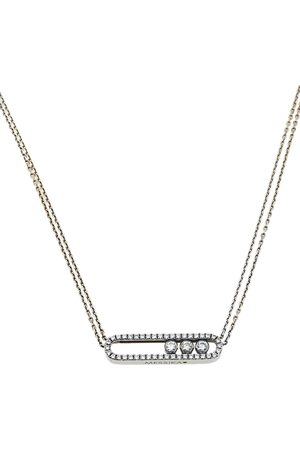 MESSIKA Move Pave Diamond 18K Gold Double Chain Necklace