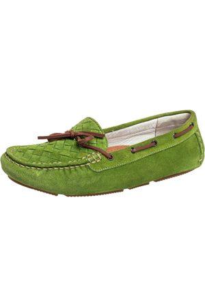 Bottega Veneta Intrecciato Suede Bow Slip on Loafers Size 38