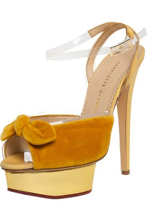 Charlotte Olympia Velvet And Fabric Knot Platform Ankle Strap Sandals Size 40