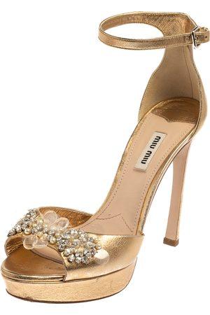 Miu Miu Women Platform Sandals - Leather Embellished Ankle Strap Platform Sandals Size 39