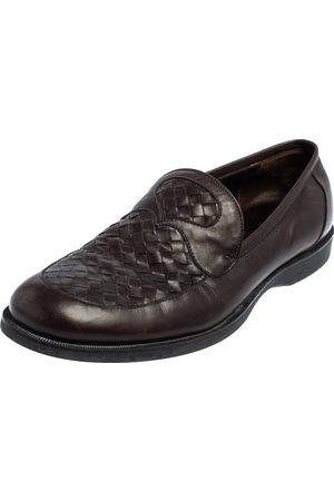 Bottega Veneta Men Loafers - Intrecciato Leather Slip On Loafers Size 45
