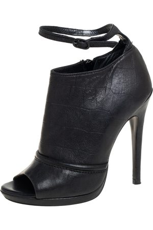 Alexander McQueen Women Ankle Boots - McQ by Croc Embossed Leather Ankle Strap Booties Size 37
