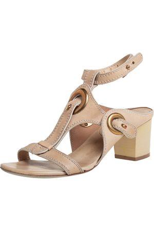 Salvatore Ferragamo Leather Block Heel Ankle Strap Sandals Size 37.5