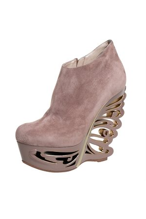 LE SILLA Suede Butterfly Wedge Booties Size 38