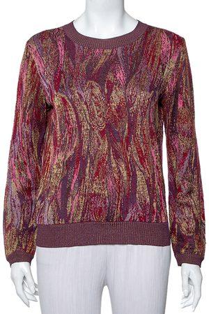 Missoni Burgundy Knit Long Sleeve Crewneck Sweater M