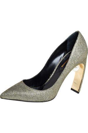 Nicholas Kirkwood Glitter And Lurex Pointed Toe Block Heel Pumps Size 38