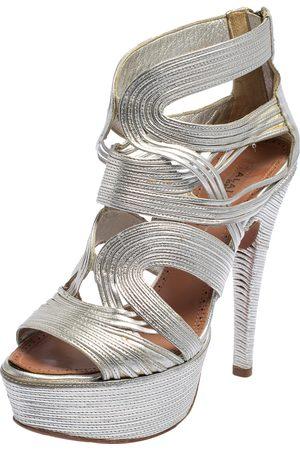 Alaïa Women Platform Sandals - Leather Cage Wave Platform Sandals Size 37