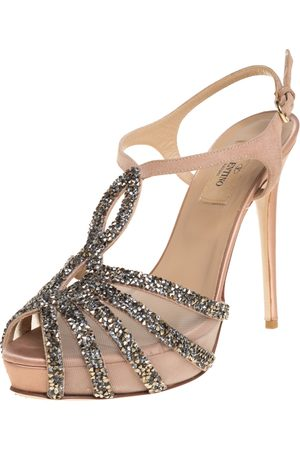 VALENTINO Crystal Embellished Suede And Mesh Platform Ankle Strap Sandals Size 37