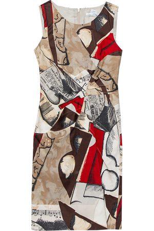Oscar de la Renta Musical Printed Cotton Sleeveless Sheath Dress S