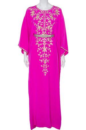 Oscar de la Renta Fuschia Silk Embroidered Detail Belted Maxi Dress M