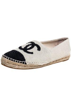 CHANEL /Black Wool And Velvet CC Espadrille Flats Size 40