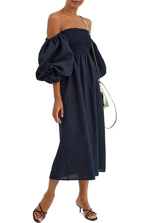Sleeper Women Strapless Dresses - Atlanta Smocked Off-the-Shoulder Midi Dress