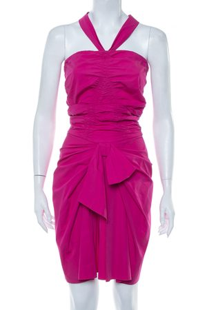 Dior Christian Cotton Halter Neck Bow Detail Ruched Mini Dress S