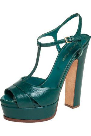 Sergio Rossi Women Platform Sandals - Leather T Strap Platform Sandals Size 36.5