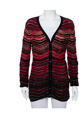 M Missoni Women Cardigans - Wavy Textured Knit Button Front Cardigan L