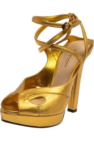 Bottega Veneta Leather Cut-Out Criss Cross Platform Ankle Strap Sandals Size 38.5