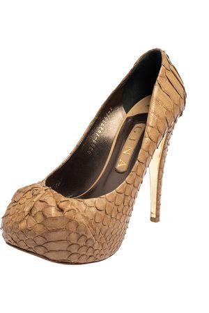 Gina Python Leather Elle Platform Pumps Size 39
