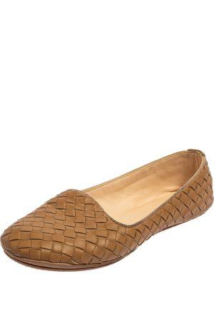 Bottega Veneta Women Flat Shoes - Intrecciato Leather Smoking Slippers Size 37